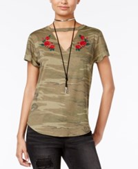 Hybrid Juniors' Embroidered Camo Printed Cutout T Shirt Olive Camo