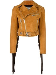 Fausto Puglisi Fringed Biker Jacket Nude Neutrals