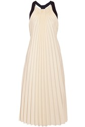 3.1 Phillip Lim Silk Satin Trimmed Pleated Twill Midi Dress Cream