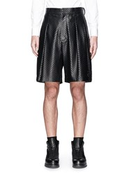 Givenchy Perforated Cross Leather Bermuda Shorts Black