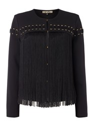 Biba Fringed Eyelet Detail Ponti Jacket Black
