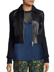 3.1 Phillip Lim Leather And Wool Cropped Jacket Black