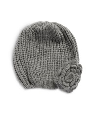 Wooden Ships Knit Flower Beanie Grey