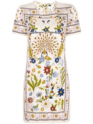 Tory Burch Floral Printed Short Dress Nude And Neutrals