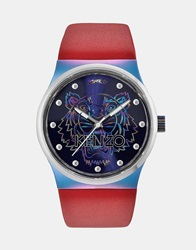 Kenzo Watch With Tiger Head Red