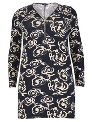 Samya Printed Tunic Dress With Oversized Zip Blue