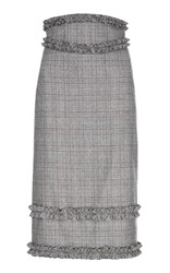 Flow The Label Plaid Wool Pencil Skirt Grey