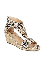 Lucky Brand Karlenie Leopard Print Espadrille Wedge Sandals Brown