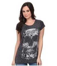 Affliction Ac Cabeza Cap Sleeve Scoop Neck Tee Black Velvet Wash Women's T Shirt Gray