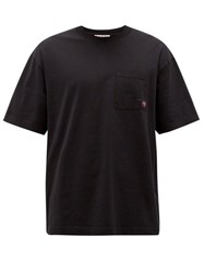 Acne Studios Extorr Fruit Embroidered Cotton Jersey T Shirt Black