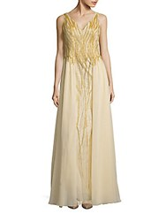 Basix Black Label Sleeveless Beaded Gown Champagne