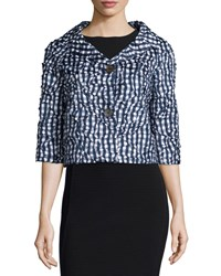 Michael Kors 3 4 Sleeve Button Front Bolero Indigo White