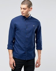 Fred Perry Shirt In Gingham Twill In Cobalt In Slim Fit Cobalt Blue