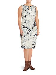 Calvin Klein Floral Printed Sleeveless Sheath Dress Grey Combo