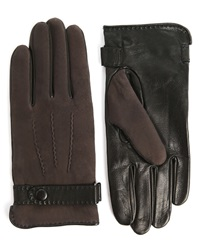 Agnelle Moka Lamb Curly Interior Frosted Black Gloves With Silk Lining