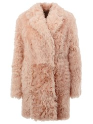 Drome Shearling Coat Pink And Purple