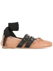 Miu Miu Ankle Strap Buckled Ballerinas Lamb Skin Leather Pink Purple
