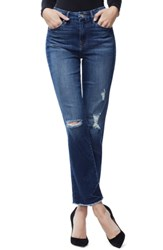 Good American Straight Frayed Ankle Jeans Blue 178