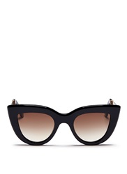 Ellery X Graz 'Quixote' Acetate Cat Eye Sunglasses Black
