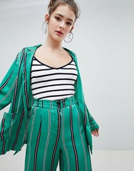 Bershka Striped Satin Blazer In Green
