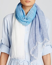 Dkny Pure Striped Color Block Scarf Indigo Ivory