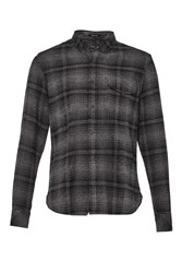 French Connection Men's Falco Flannel Button Down Shirt Charcoal