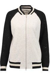 Brunello Cucinelli Sequin Embellished Cashmere And Cotton Blend Bomber Jacket Off White