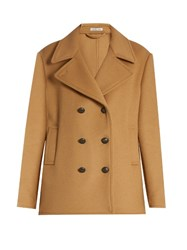Tomas Maier Double Breasted Wool Blend Pea Coat Tan