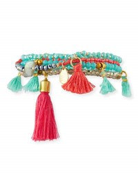 Panacea Beaded Tasseled Mini Stretch Bracelets Multi