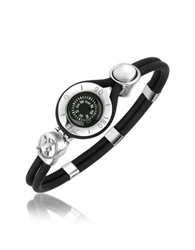 Forzieri Compass Stainless Steel And Rubber Bracelet Silver