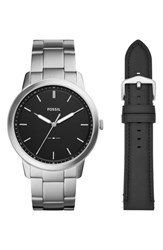 Fossil Minimalist Bracelet Watch And Leather Strap Gift Set 44Mm Silver Black Silver