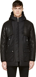 Pyer Moss Black Hooded Leather Sleeve Robby Parka