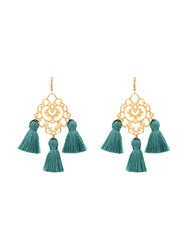 Marte Frisnes Rita Tassel Earrings Cotton Gold Plated Silver Blue