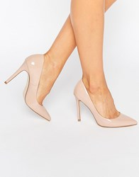 Faith Chloe Patent Nude Court Shoes Pink