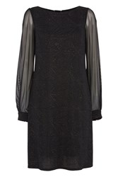 Roman Originals Glitter Sparkle Chiffon Sleeve Dress Black