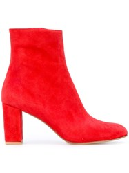 Maryam Nassir Zadeh Ankle Height Zipped Boots Women Leather Suede 39 Red