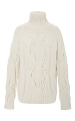 Sally Lapointe Cream Cashmere Cableknit Turtleneck Sweater White