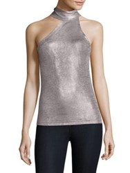 Free People Turtleneck Asymmetrical Tank Top Grey