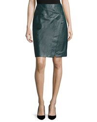 J. Mendel Faux Wrap Leather Pencil Skirt Midnight Forest