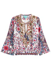 Taj Embellished Printed Silk Top Multicolor