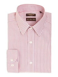 Corsivo Bernado End On End Stripe Shirt Raspberry