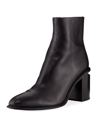 Alexander Wang Anna Block Heel Leather Booties Rhodium Tone Hardware Black