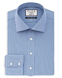 Thomas Pink Holmes Check Dress Shirt Bloomingdale's Slim Fit Blue White