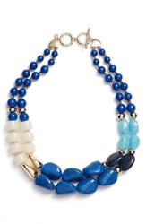 Halogen Dual Strand Beaded Necklace Blue Gold