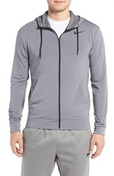 Nike Men's Dri Fit Training Fleece Hooded Sweatshirt Cool Grey Black