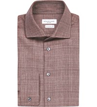Richard James Contemporary Fit Cotton Tweed Shirt Dusty Pink