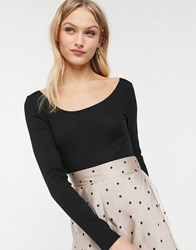Monki Scoop Neck Body In Black