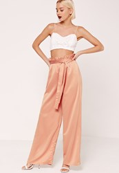 Missguided Paper Bag Waist Wide Leg Trousers Orange Pink