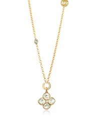 Rebecca Candy 18 Kt Yellow Gold Over Bronze Necklace W Flower Charm Pink