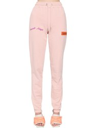 Heron Preston Cotton Sweatpants W Patches Pink
